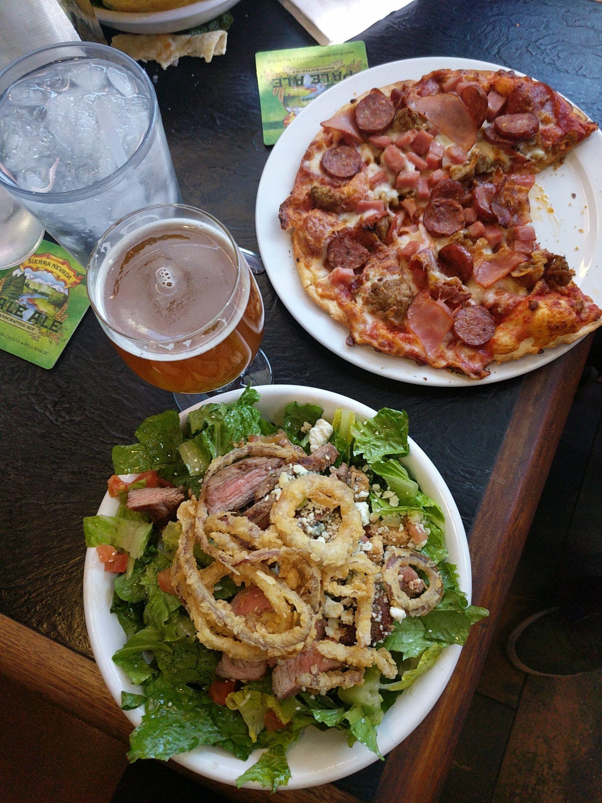 beer pizza salad